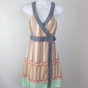 Diesel silky summer pastel wrap dress denim accent